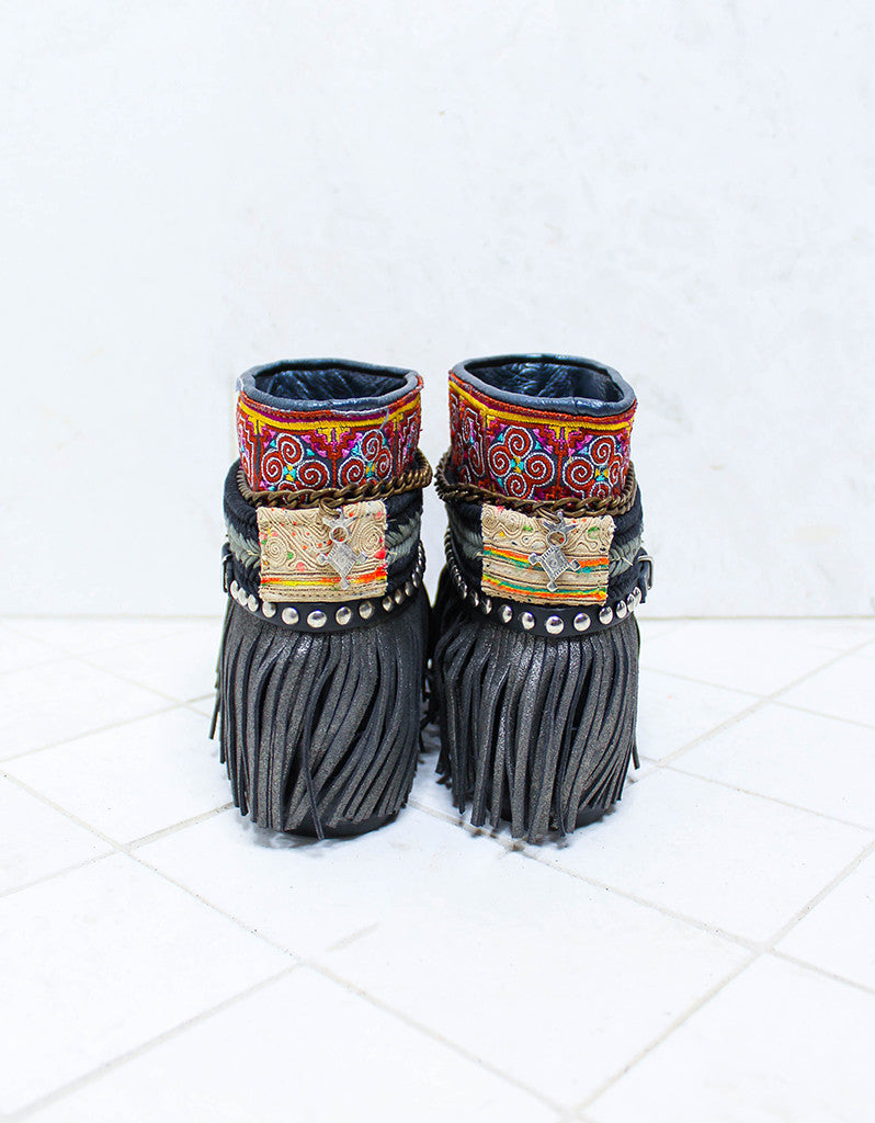 Custom Made Boho Boots in Black | SIZE 41 - SWANK - Shoes - 6