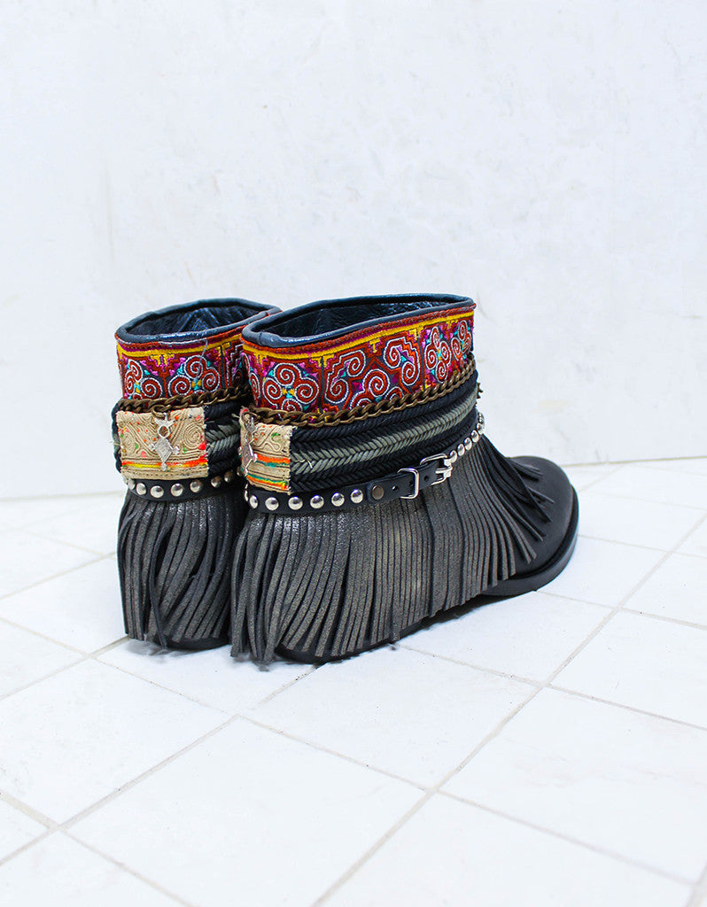 Custom Made Boho Boots in Black | SIZE 41 - SWANK - Shoes - 7
