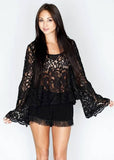 Show Me Your MuMu Flora Fan Top in Lace Black - SWANK - Tops