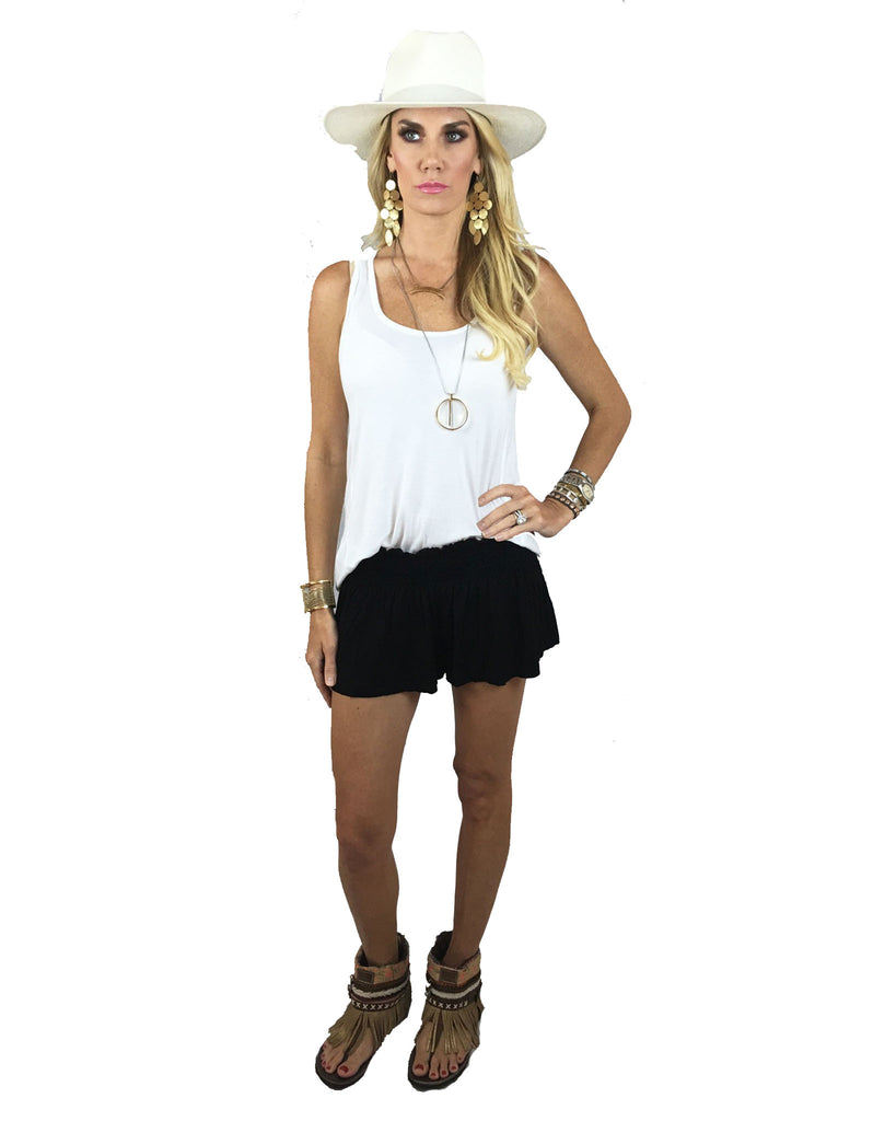 Michael Lauren Fox Smocked Short in Black - SWANK - Shorts - 2