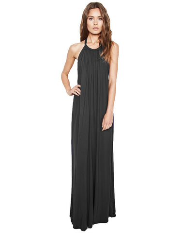 Michael Lauren French Boho Halter Maxi Dress in Black