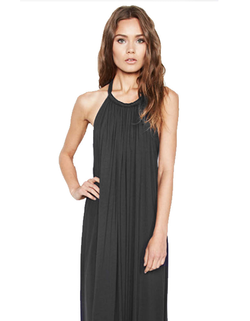 Michael Lauren French Boho Halter Maxi Dress in Black - SWANK - Dresses - 2