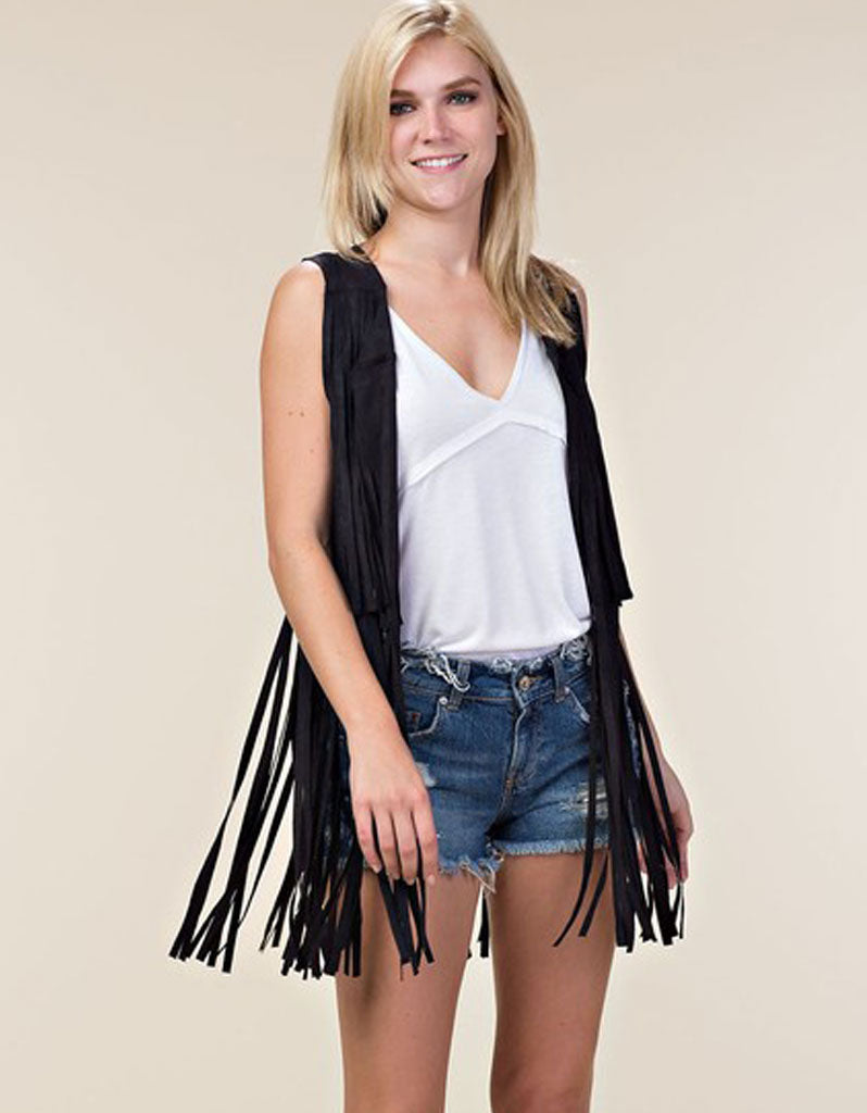 Fringe Forever Vest in Black