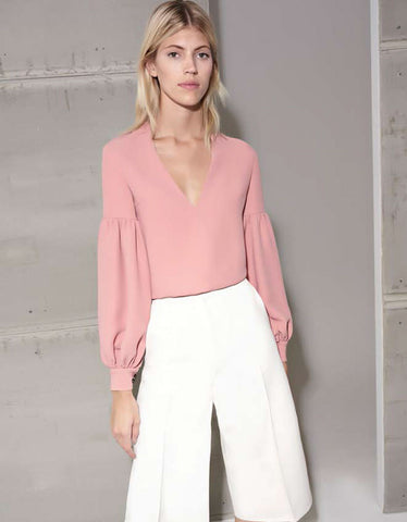 Alexis Gabriella Blouse in Ash Pink and Black