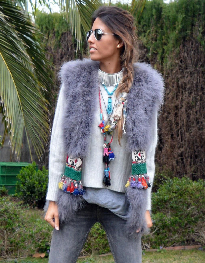 Fur Vest with Embellished Jewel Waist in Gray - SWANK - Outerwear - 2
