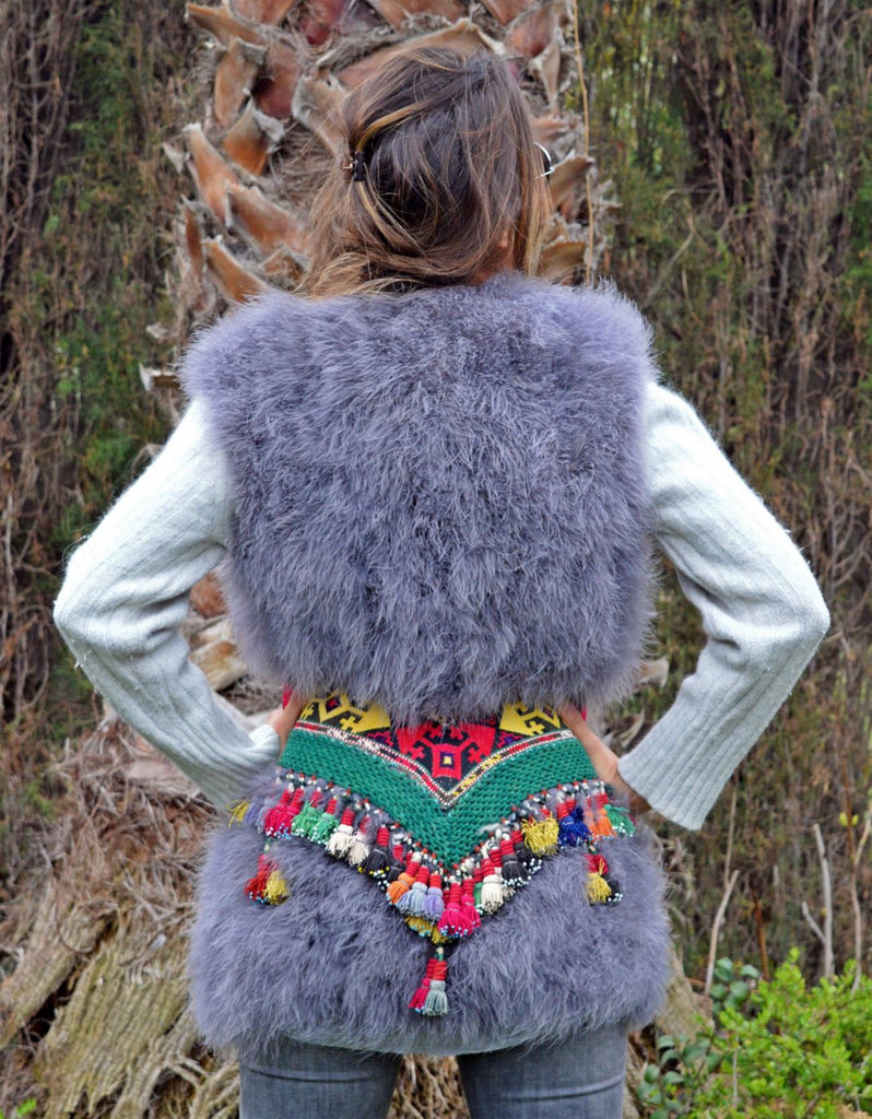 Fur Vest with Embellished Jewel Waist in Gray - SWANK - Outerwear - 3