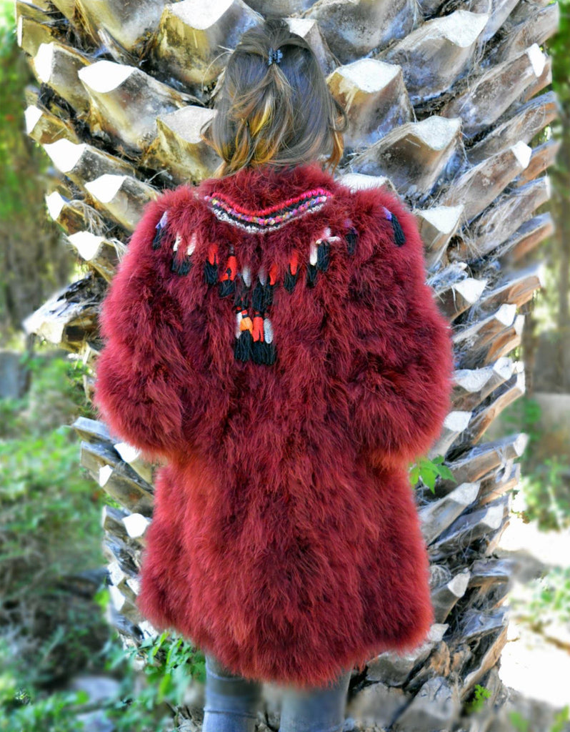 Fur Coat with Embellishment in Red - SWANK - Outerwear - 2