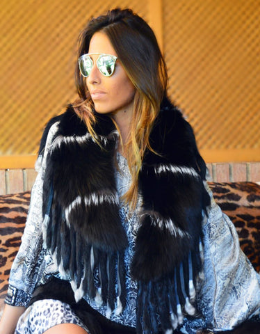 Fur Belt with Fringe in Black