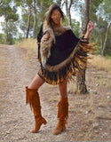 Fur Poncho with Tassels in Black - SWANK - Outerwear - 1