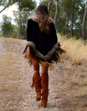 Fur Poncho with Tassels in Black - SWANK - Outerwear - 3