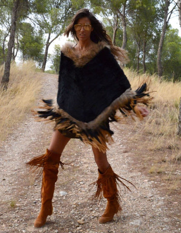 Fur Poncho with Tassels in Black