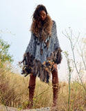 Fur Poncho with Tassels in Light Blue - SWANK - Outerwear - 1