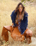 Fur Collar with Fringe in Blue - SWANK - Outerwear - 2
