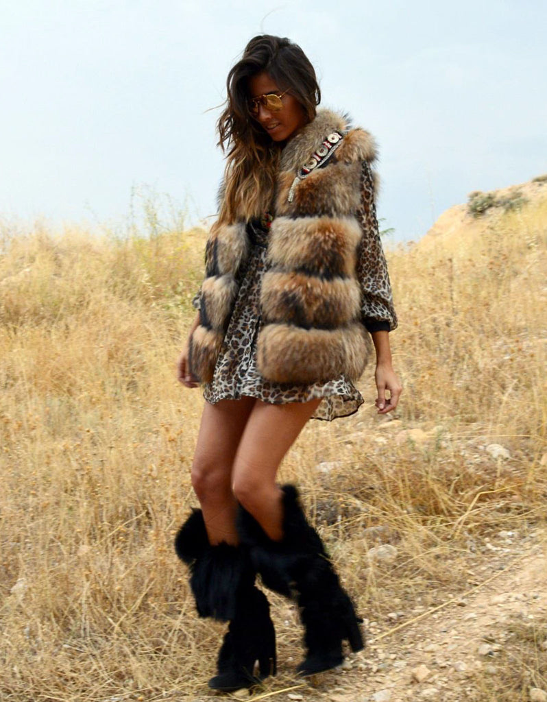 Fur Vest with Embellished Jewel Collar in Brown - SWANK - Outerwear - 1