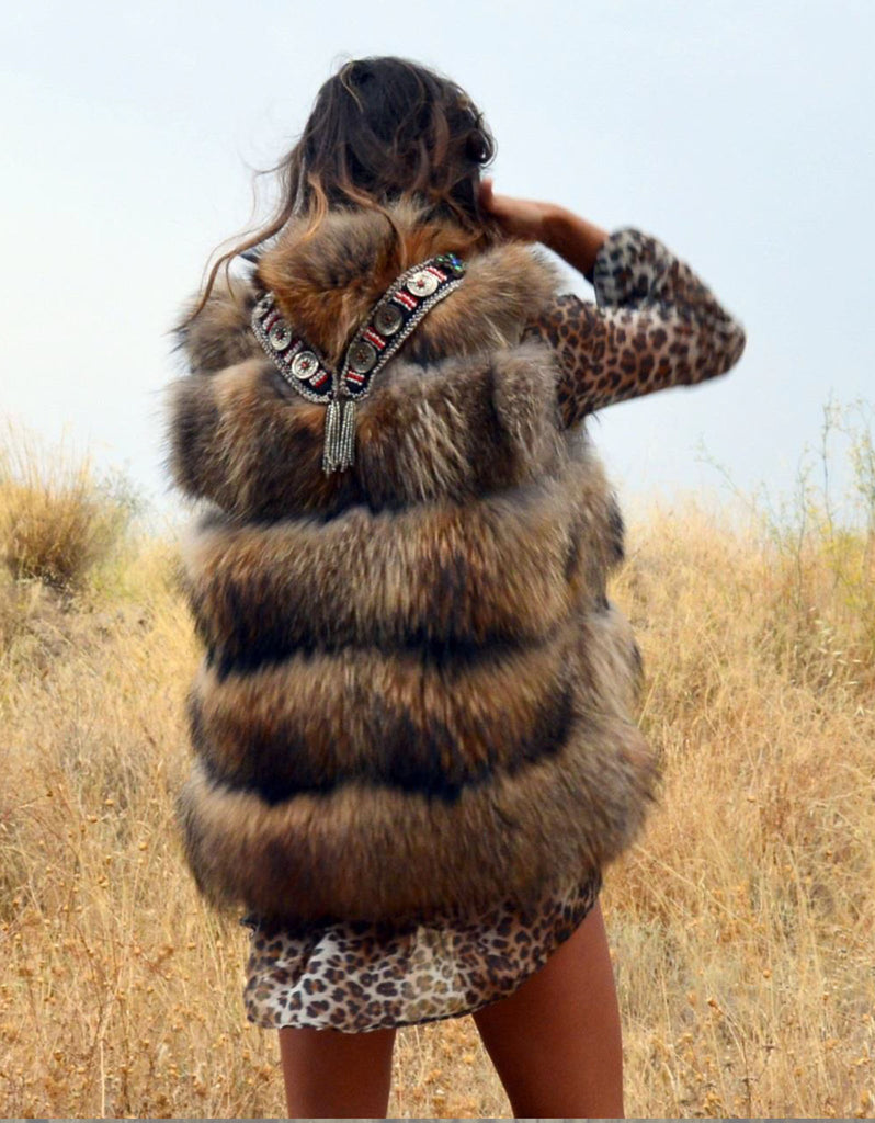 Fur Vest with Embellished Jewel Collar in Brown - SWANK - Outerwear - 2