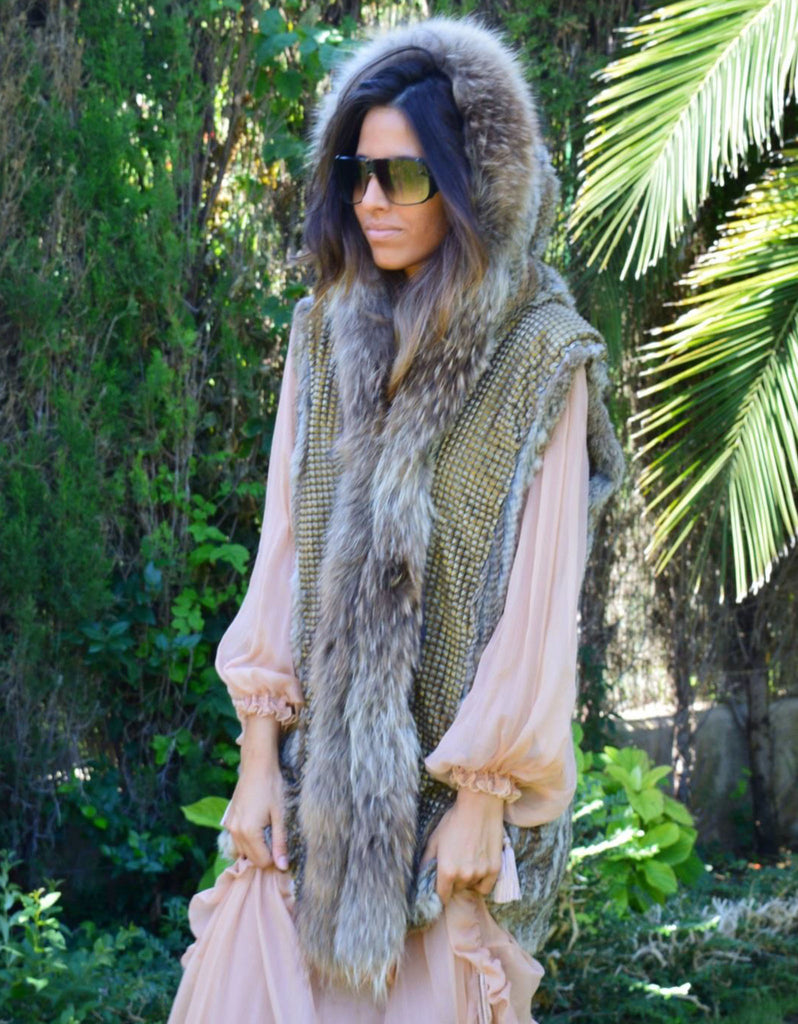 Fur Vest with Hood in Gray - SWANK - Outerwear - 1