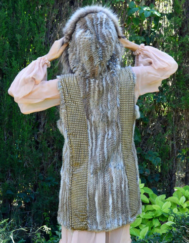 Fur Vest with Hood in Gray