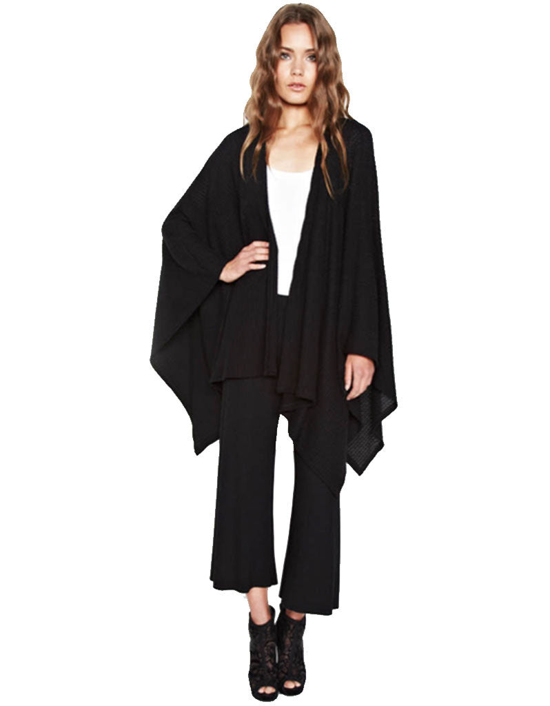 Michael Lauren Guiseppe Blanket Wrap in Black Waffle - SWANK - Tops - 1
