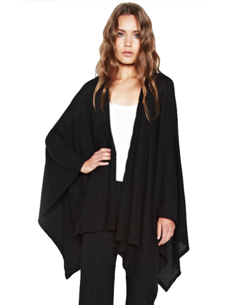 Michael Lauren Guiseppe Blanket Wrap in Black Waffle - SWANK - Tops - 2