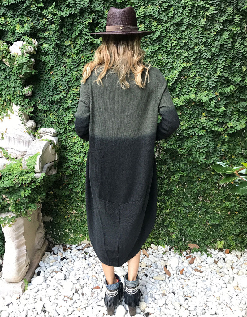 Game Changer Ombre Cocoon Cardigan in Army Green/Black