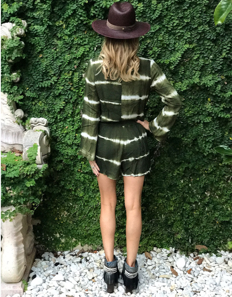 Wrap Me Up Tie Dye Romper in Army