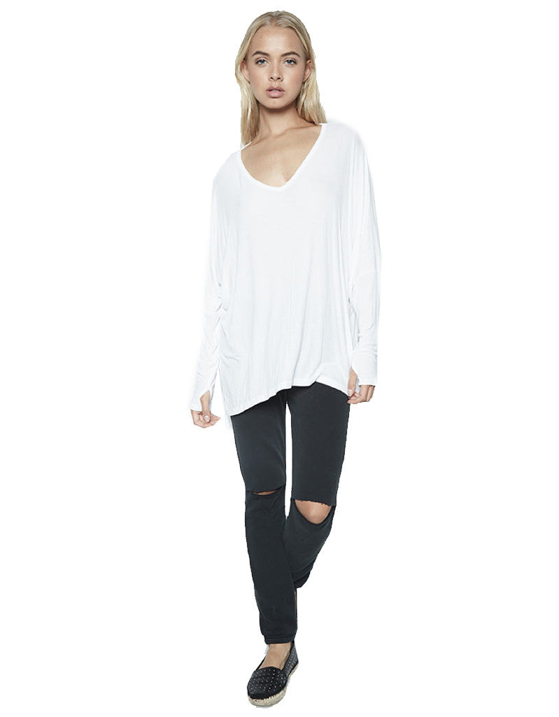 Michael Lauren Gio L/S Draped V-Neck Top w/Thumbholes in White - SWANK - Tops - 1