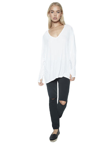 Michael Lauren Gio L/S Draped V-Neck Top w/Thumbholes in White