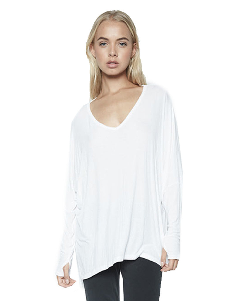 Michael Lauren Gio L/S Draped V-Neck Top w/Thumbholes in White - SWANK - Tops - 2