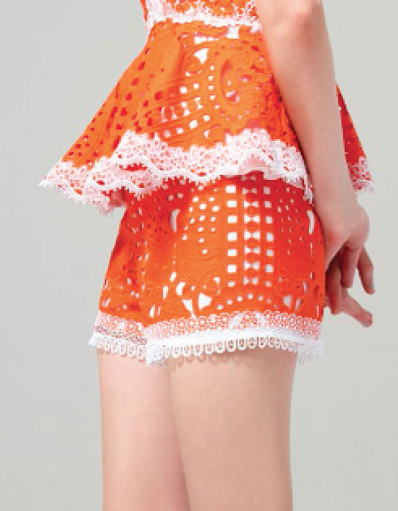 Alexis Giselle Lace Shorts in Tangerine - SWANK - Shorts - 2