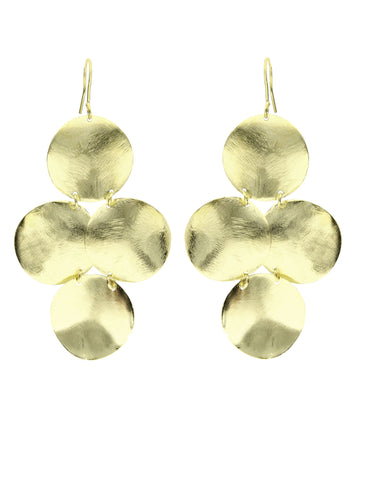 Gold Luxury Double Bent Leaf Chandelier Earrings