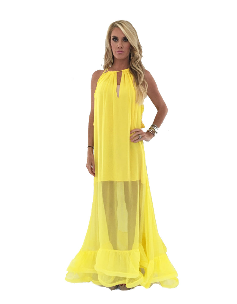 Alexis Gracie Long Dress w/Ruffles in Yellow - SWANK - Dresses - 2