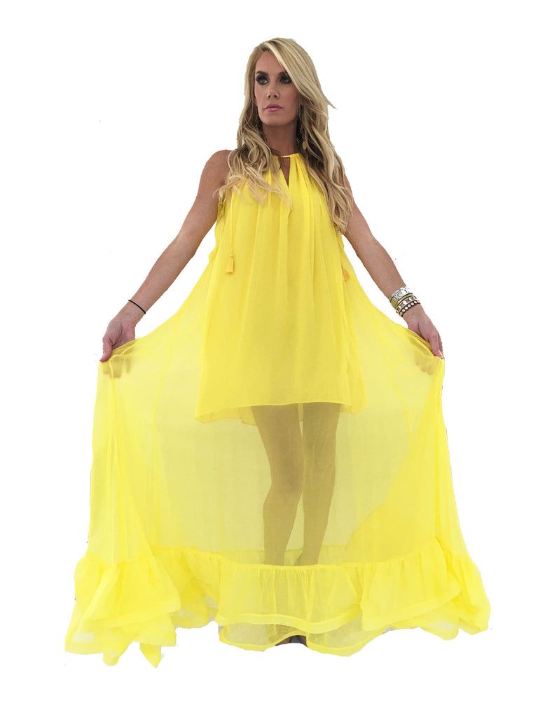 Alexis Gracie Long Dress w/Ruffles in Yellow - SWANK - Dresses - 3
