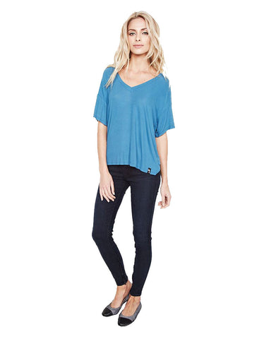 Michael Lauren Gram Drop Shoulder S/S V Neck Tee in Spruce Blue