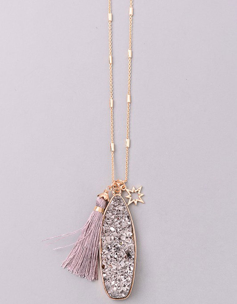 Vintage Snoot Starfire Druzy Necklace in Gunmetal