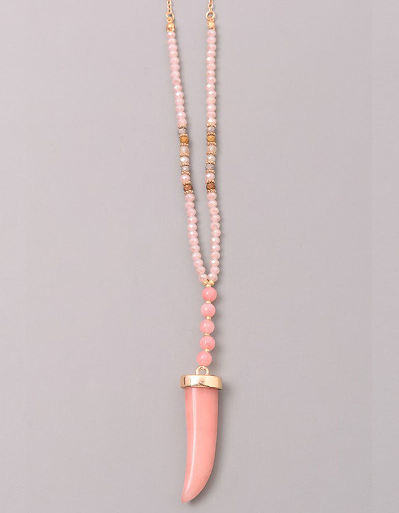 Gwyneth Beaded Horn Necklace in Grey