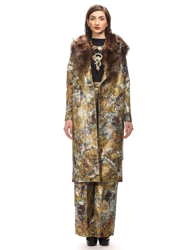 Hemant and Nandita Long Jacquard Jacket - SWANK - Jackets - 1