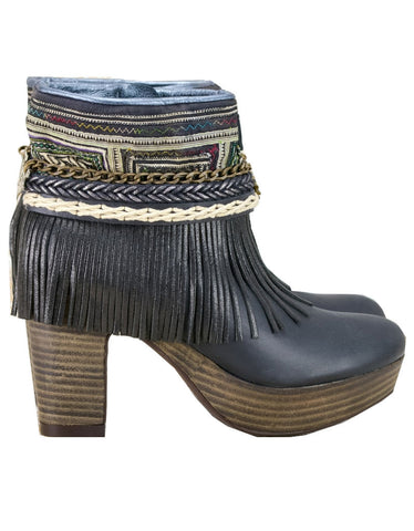 Boho Sneakers with Fringe in Black Snake