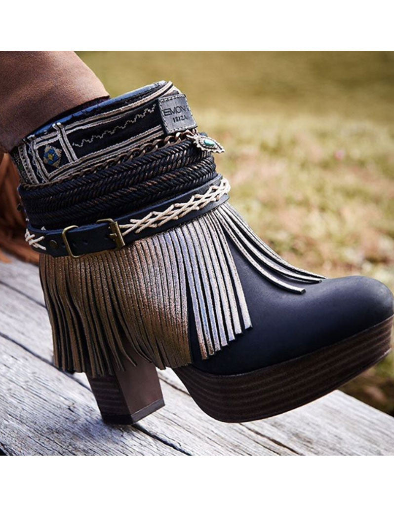 Boho Custom Made High Heel Boots - Black - SWANK - Shoes - 2