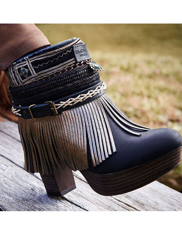 Custom Made High Heel Boho Boots in Black | SIZE 40