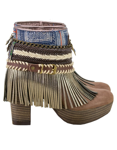 Boho Custom Made High Heel Boots - Brown