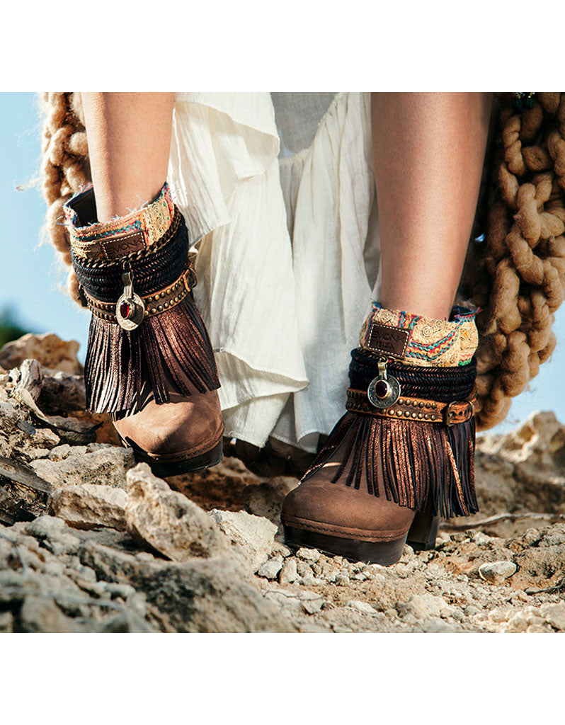Boho Custom Made High Heel Boots - Brown - SWANK - Shoes - 6