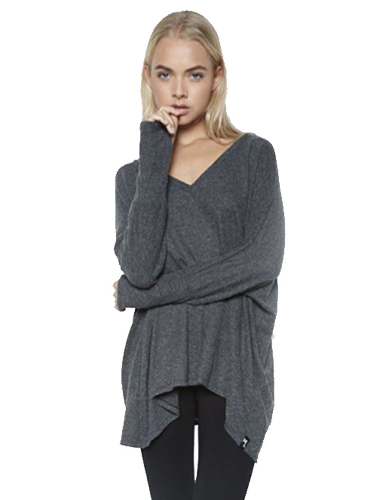 Michael Lauren Harman Oversized V-Neck Pullover w/Thumbholes in Black - SWANK - Tops - 2
