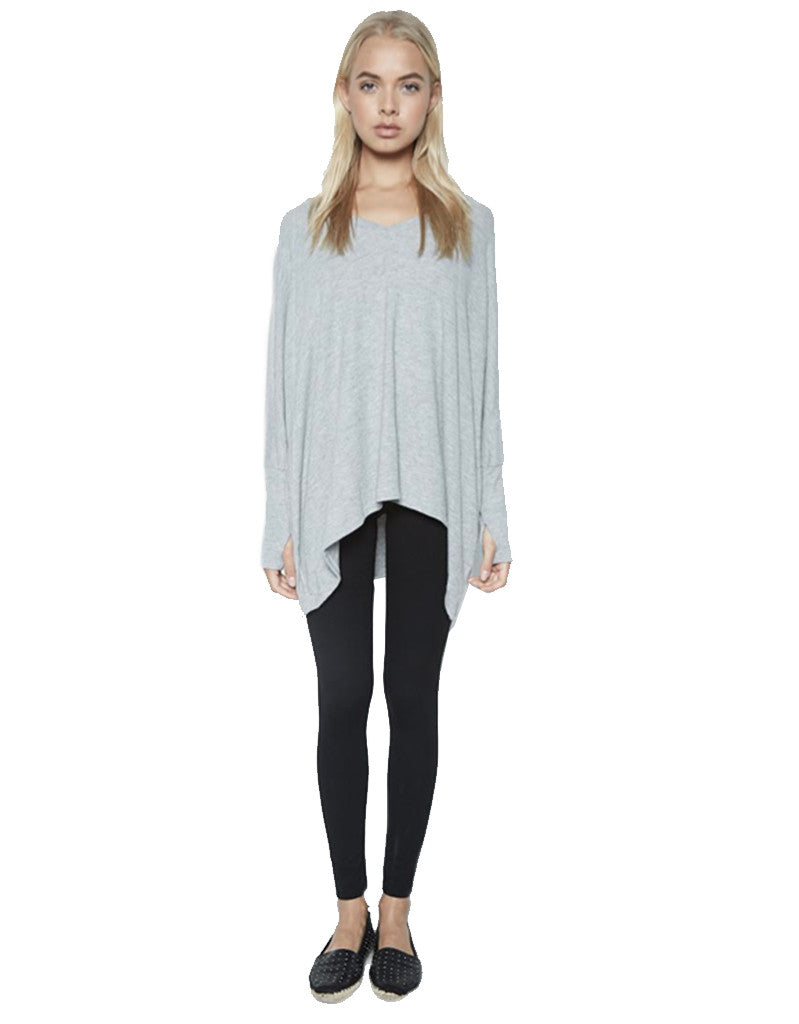 Michael Lauren Harman Oversized Pullover w/Thumbholes in Heather Grey - SWANK - Tops - 1