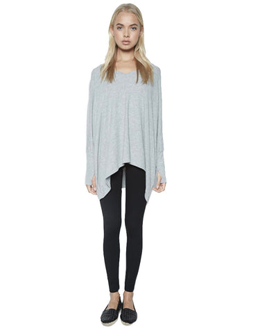 Michael Lauren Harman Oversized Pullover w/Thumbholes in Heather Grey