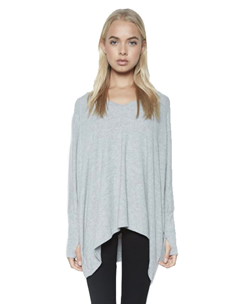 Michael Lauren Harman Oversized Pullover w/Thumbholes in Heather Grey - SWANK - Tops - 2