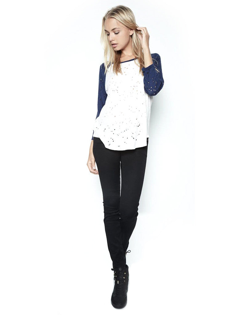 Michael Lauren Harvey Boyfriend Raglan in Scour/Blue Magic - SWANK - Tops - 2