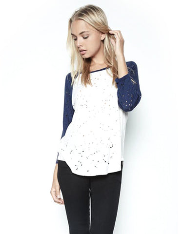 Michael Lauren Harvey Boyfriend Raglan in Scour/Blue Magic