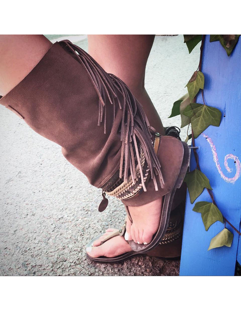 Boho High Boot Sandals - Brown - SWANK - Shoes - 3