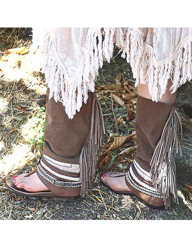 Boho High Boot Sandals - Brown - SWANK - Shoes - 4