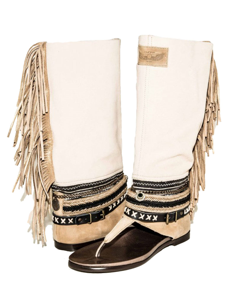 Boho High Boot Sandals - Beige - SWANK - Shoes - 4